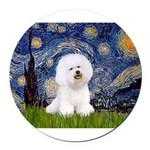 J-ORN-Starry-Bichon1.png Round Car Magnet