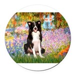 TILE-Garden-M-BordC1.png Round Car Magnet