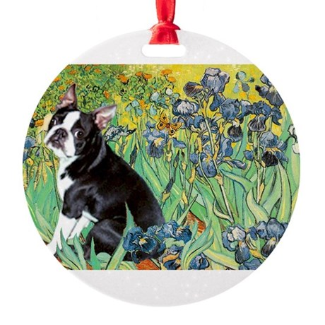 5.5x7.5-Irises-Boston4.png Round Ornament