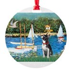 Boston Terrier Sailboats Round Ornament
