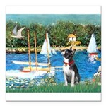 Boston Terrier Sailboats Square Car Magnet 3