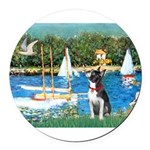 Boston Terrier Sailboats Round Car Magnet