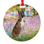 TILE-Garden-Boxer5-Brindle.png Round Ornament