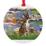 MP-Lilies2-Boxer5-Brindle.png Round Ornament