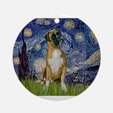 5.5x7.5-StarryNight-Boxer4-nat.png Ornament (Round