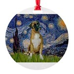 5.5x7.5-StarryNight-Boxer4-nat.png Round Ornament