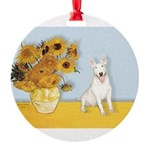 MP-Sunflowers - Bull Terrier 4.png Round Ornament