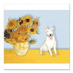 MP-Sunflowers - Bull Terrier 4.png Square Car Magn