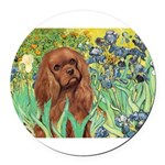 3-MP-IRISES-Cav-Ruby7.png Round Car Magnet
