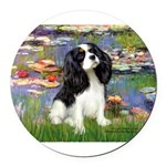 LILIES2-Cav-Tri52 .png Round Car Magnet