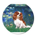 ORN-LILIES 5-CAV2B.png Round Car Magnet