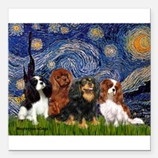 "Starry-CavalierQUAD.png Square Car Magnet 3"" x 3"""