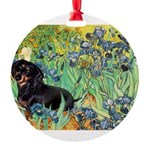 8x10-Irises-Dachs-Blk4.png Round Ornament