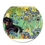 8x10-Irises-Dachs-Blk4.png Round Car Magnet