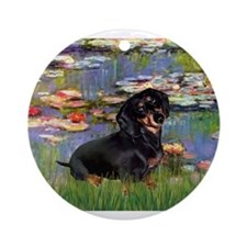 5.5x7.5-Lilies2-Dachs-Blk4.png Ornament (Round)