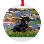 5.5x7.5-Lilies2-Dachs-Blk4.png Round Ornament