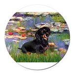 5.5x7.5-Lilies2-Dachs-Blk4.png Round Car Magnet