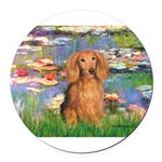 MP-Lilies2-LHDachs.png Round Car Magnet