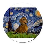 MP-Starry-Dachs-Brwn1.png Round Car Magnet