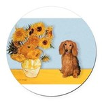 MP-SUNFLWRS-LHDAchs-Sable.png Round Car Magnet