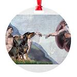 5.5x7.5-Creation-DobiePR-BZ.png Round Ornament