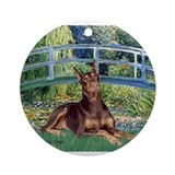 Doberman Round Ornaments