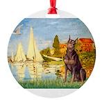 SAILBOATS2-Dobie-Red-Sheenasit.png Round Ornament