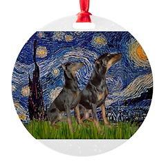 MP-Starry-DobiePR-names.png Round Ornament