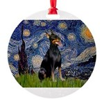 MP-Starry-dobie1.png Round Ornament