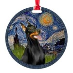 8x10-Starry-Dobie1.png Round Ornament