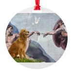 5.5x7.5-Creation-Golden3.png Round Ornament