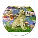 TILE-LILIES2-GoldBanjo1-light.png Round Car Magnet