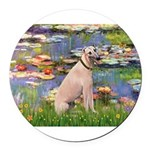 5.5x7.5-Lilies2-Greyt2.png Round Car Magnet