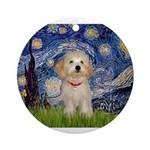 5.5x7.5-Starry-HavanaesePup1.PNG Ornament (Round)