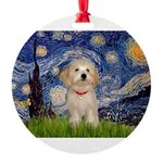 5.5x7.5-Starry-HavanaesePup1.PNG Round Ornament
