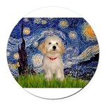 5.5x7.5-Starry-HavanaesePup1.PNG Round Car Magnet