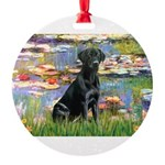 LILIES2-labblk1.png Round Ornament