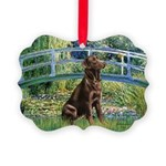 Bridge - Chocolate Lab 11.png Picture Ornament