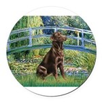 Bridge - Chocolate Lab 11.png Round Car Magnet