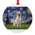 StarryNight-YellowLab7.png Round Ornament
