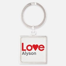 I Love Alyson Square Keychain