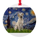 Starry Night Yellow Lab Round Ornament