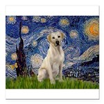 Starry Night Yellow Lab Square Car Magnet 3