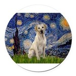 Starry Night Yellow Lab Round Car Magnet