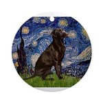 Starry Chocolate Lab Ornament (Round)