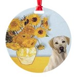 Sunflowers-YellowLab7.png Round Ornament