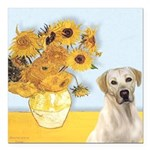 Sunflowers-YellowLab7.png Square Car Magnet 3