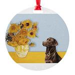 Sunflowers / Choc Lab 11 Round Ornament