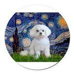 3-MP-STARRY-Malatese-Rocky.png Round Car Magnet