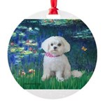MP-LILIES5-Maltese-Rocky.png Round Ornament